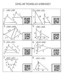similar triangles worksheet with qr codes free teaching high