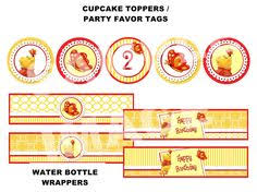 winnie the pooh printable diy custom party circle cupcake toppers