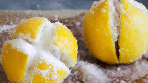 the kitchen cut a lemon and put salt then put it in the kitchen and see what