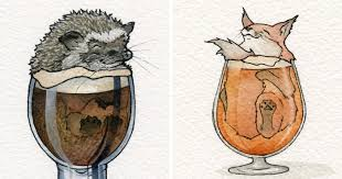 watercolor artist and home brewer creates cute drawings of animals