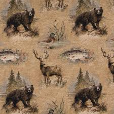 Tapestry Fabrics Upholstery Bears Fish Ducks Deer And Trees Themed Tapestry Upholstery Fabric