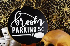 halloween craft broom parking sign mod podge rocks
