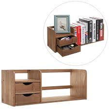 Expandable Desk Drawer Organizer Brown Wood Desk Organizer With Two Drawers