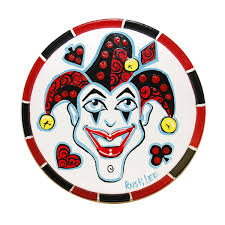 joker poker chip round wall art card suit game room by rustilee