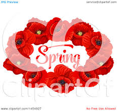 clipart of a red poppy flower spring time season design element