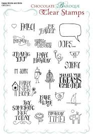 happy words and birds clear st sheet a5 chocolate baroque