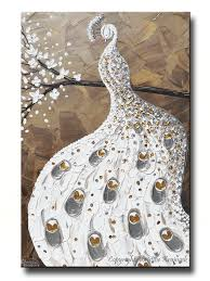 Silver And Gold Home Decor by Giclee Print Art White Peacock Painting Abstract Large Canvas