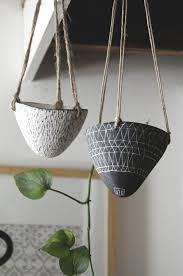 geometric design black and white carved hanging planter