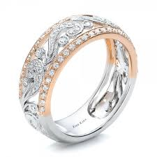 two tone wedding bands two tone gold filigree and diamond women s band kirk kara
