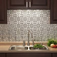 Tin Backsplash For Kitchen Amazon Com Fasade Easy Installation Traditional 1 Brushed
