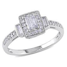 white gold halo engagement rings miadora 10k white gold 1 3ct tdw baguette halo engagement
