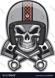 skull and crossed piston royalty free vector image