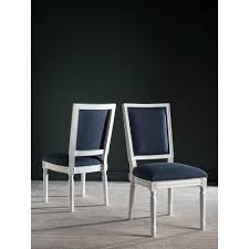 Safavieh Home Furniture Safavieh Buchanan Navy And Cream Linen Dining Chair Set Of 2