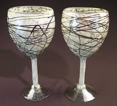 wine glass hand blown 14oz white confetti w chocolate swirls set of 2