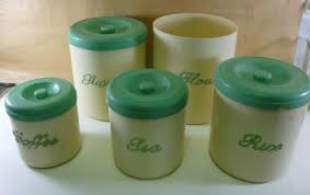 nally kitchen canister set of 5 larger variety in green on ivory