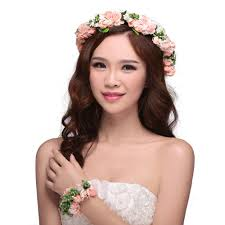 white flower headband women hair accessories flower wedding headband floral crown with