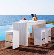 Garden Bar Table And Stools Kersey Outdoor Tall Bar Table With Ice Bucket And 4 Stools Brown