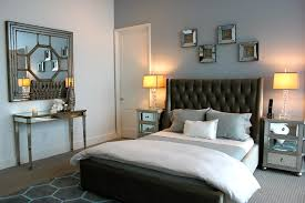 mirrored nightstand in contemporary other metro with gray wall