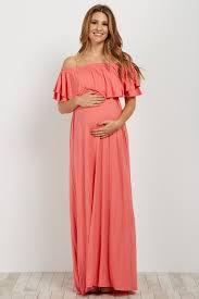 maternity dresses coral shoulder ruffle trim maternity maxi dress