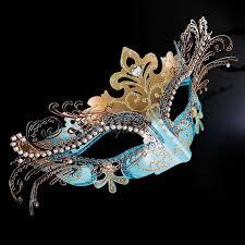 rhinestone mardi gras mask masquerade mask mardi gras mask teal blue gold venetian 3d