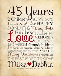 45 year anniversary gift anniversary gift for parents 45 year by wanderingfables on etsy