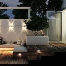 Garden Wall Lights Patio Wood Decking White Rendered Walls And Raised Contemporary