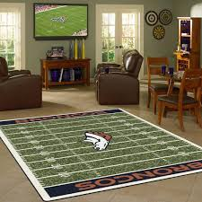 Denver Area Rugs Denver Broncos Nfl Football Field Rug Fan Rugs