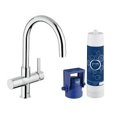 grohe blue pure 2 handle standard kitchen faucet in supersteel