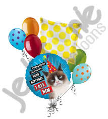 birthday balloons for him grumpy cat birdie happy birthday balloon bouquet