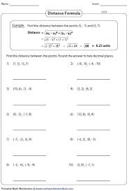 distance formula worksheet pythagorean theorem worksheets