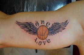 picture of one love tattoo on the biceps