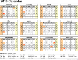 2016 calendar with federal holidays