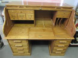 lot detail oak roll top desk with carved handles designed for