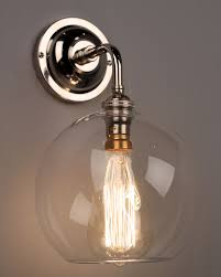 Wall Light Shades Contemporary Wall Light With Clear Hereford Glass Globe Shade