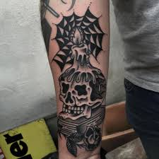 until then skull book candle spiderweb blacktattoo