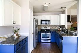paint kitchen cabinets white diy our diy blue white kitchen cabinets renovations