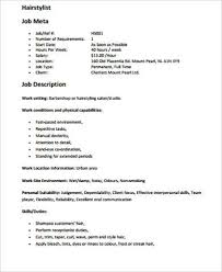 Salon Assistant Job Description Resume by Sample Hair Stylist Resume 6 Examples In Word Pdf