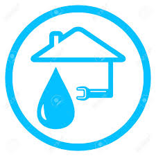 House Silhouette by Blue Round Plumber Icon With Wrench And House Silhouette Royalty