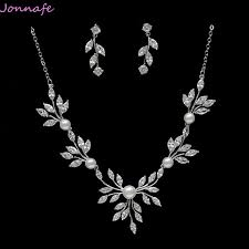 prom jewelry jonnafe silver simple wedding necklace with earrings zirconia
