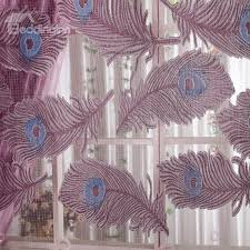 Peacock Blue Sheer Curtains Decorative Polyester Sheer Peacock Feather Printing Noble Style