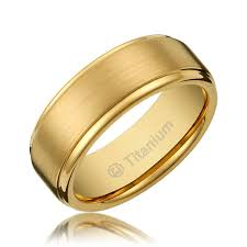 gold band ring 8mm men s titanium gold plated ring wedding band with flat brushed
