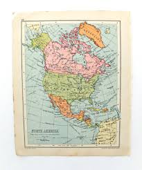 North Anerica Map North America Map Vintage Map Of North America Travel Map 1934