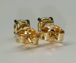 gold stud earrings for men 14k yellow gold 4 mm cubic zirconia push back stud earrings men