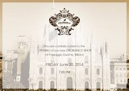 Invitation Card For Grand Opening Orobianco Invitation Card Grand Opening Milan Italy New