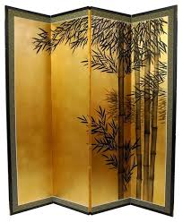 5 1 2 ft tall gold leaf bamboo room divider asian screens and