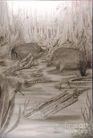 hogs and gators in the swamp drawing by larry hazelwood