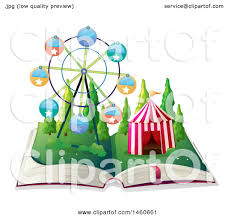 clipart graphic of a story book with a circus tent and ferris