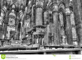 black and white photo interior of the famous cathedral duomo di