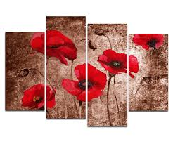 poppy home decor amazon com wieco art red poppies on brown large 4 panels modern