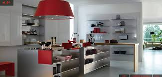 Kitchen With Red Appliances - beautiful stainless steel kitchen design with red accents